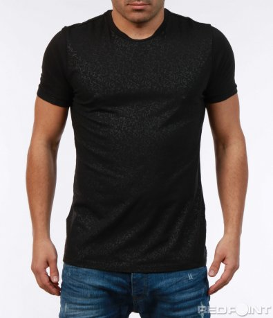 Черна класна тениска с акцент 7347