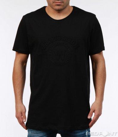 Черна тениска с релефен мотив 7398