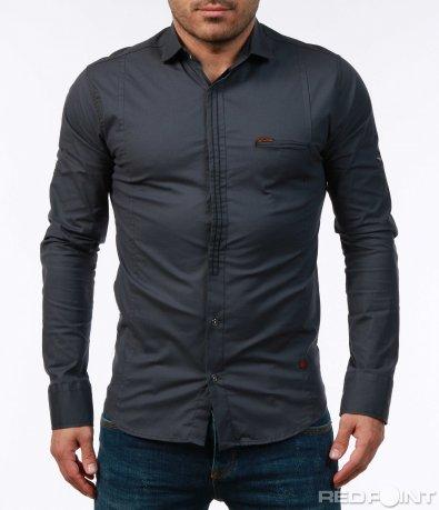 Едноцветна риза с кант 7433