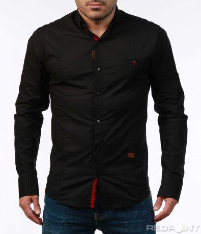 Едноцветна риза с декоративен джоб 7449