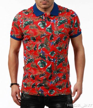 Многоцветна тениска с яка 7468
