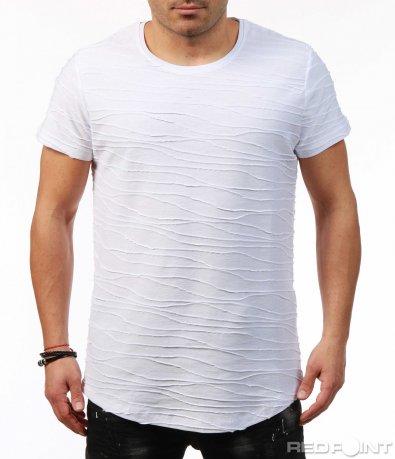Тениска в два цвята с релефни шевове 7451