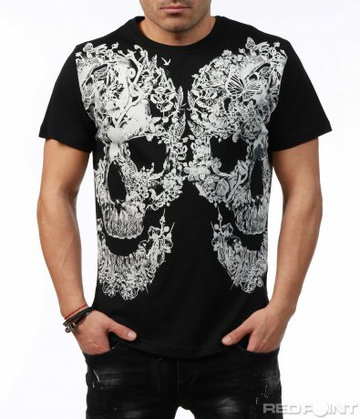 Черна тениска с бяла апликация 7454
