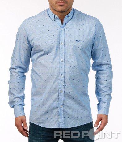 Ефектна ситно раирана риза 7482
