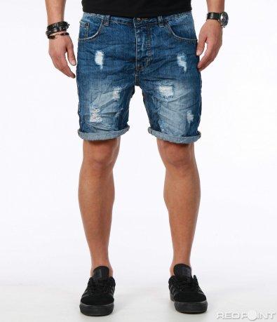 Дънкови къси панталони с кръпки 7573