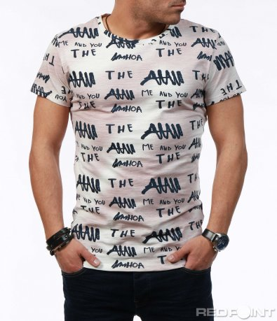 Щура тениска с надписи 7580