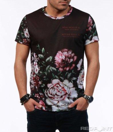 Черна тениска с цветя 7596
