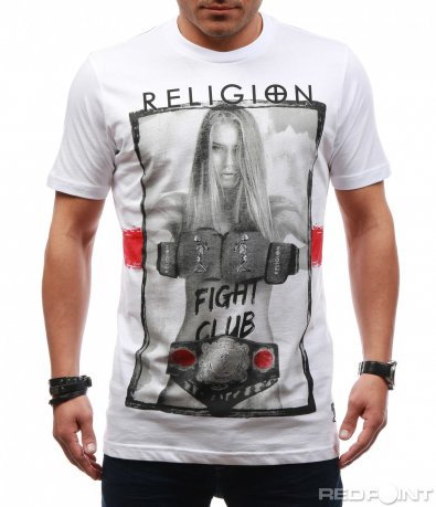 Бяла тениска с шампа 7647