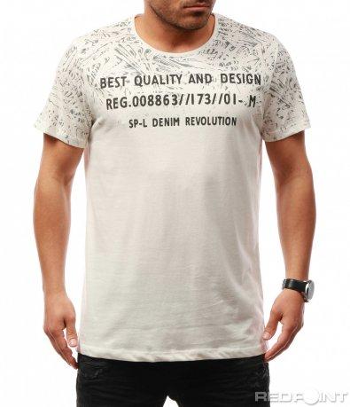 Светла тениска с надписи 7671