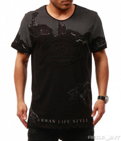 Черна тениска с щампа 7672