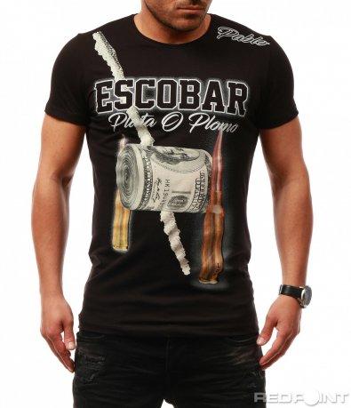 Черна тениска с щампа Escobar 7669