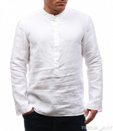 Еднотонна ленена риза 7662