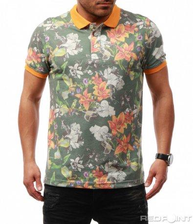 Цветна тениска с къс ръкав и яка 7680
