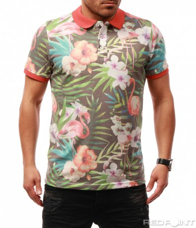 Тениска с яка и цветен принт 7683