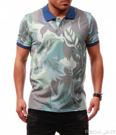 Семпла тениска с яка и цветен десен 7688