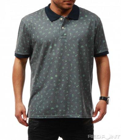 Стилна тениска с яка и къс ръкав 7689