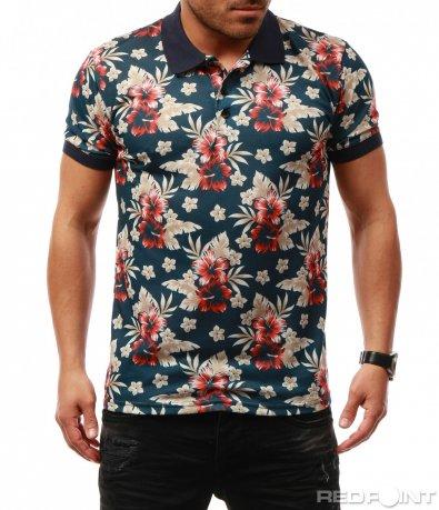Ефектна тениска с яка и цветен десен 7693