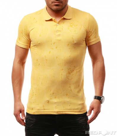 Тениска с яка в лек флорален десен 7696
