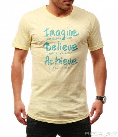 Семпла тениска с надписи 7704