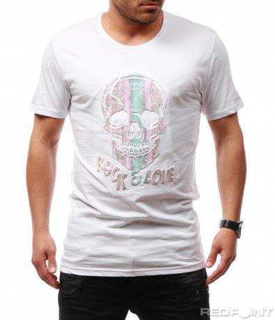 Ефектна тениска с релефна щампа 7705