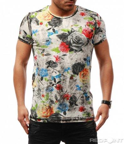 Шарена тениска с флорален принт 7710