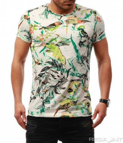 Свежа тениска с цветни елементи 7709