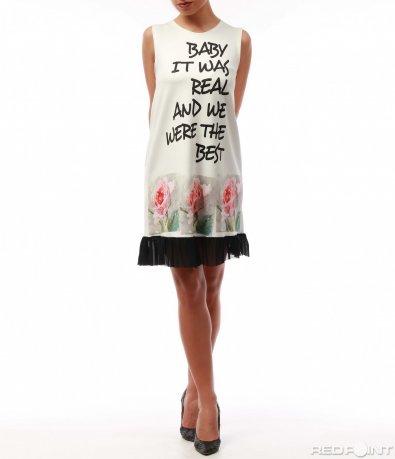 Бяла рокля с рози 7724