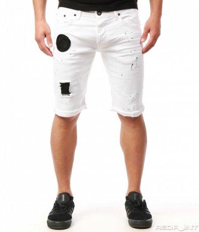 Бели къси дънки с кръпки 7766