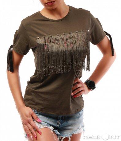 Интересна тениска с ресни 7774