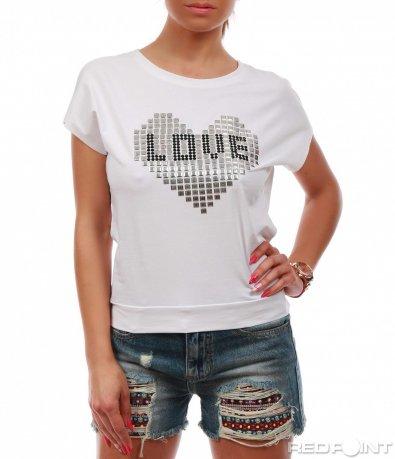 Бяла лятна блуза с декорация 7786