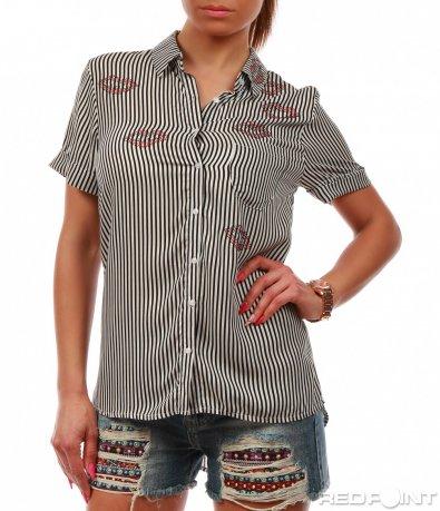 Раирана риза с къс ръкав 7794
