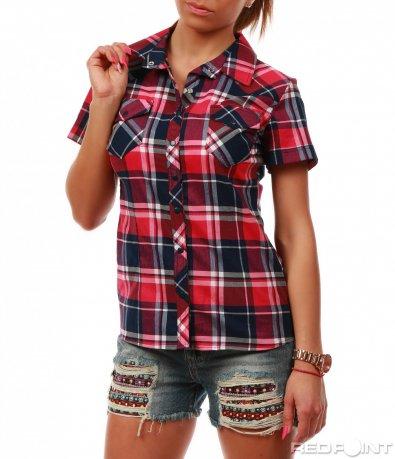 Карирана розова риза 7796