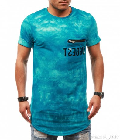 Издължена тениска с джоб 7817