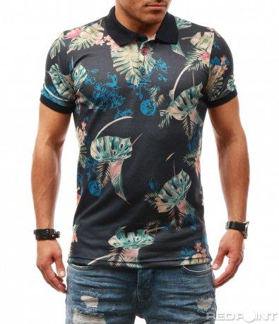 Пъстра тениска с яка 7818