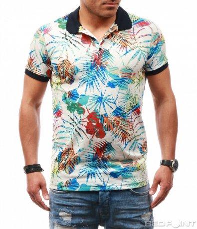 Цветна лятна тениска с яка 7819