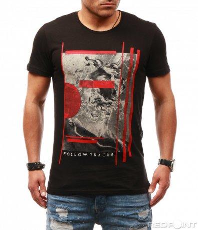 Тениска с щампа и цветна декорация 7828