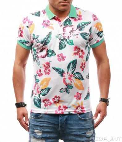 Пъстра тениска с яка 7637