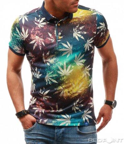 Цветна тениска с яка 7845