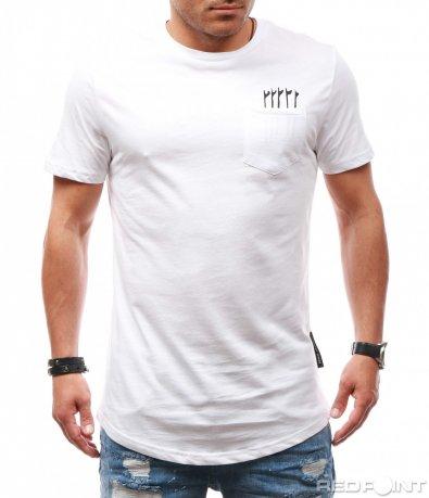 Бяла тениска с декоративен джоб 7850