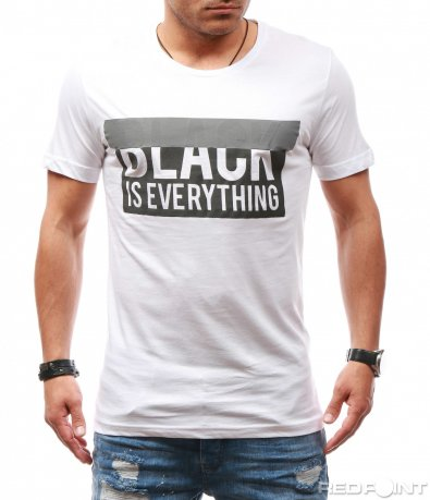 Бяла тениска с черен надпис 7831