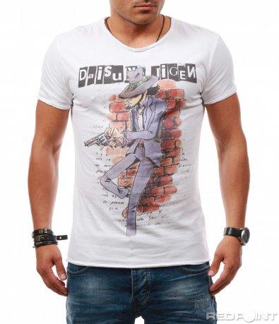 Бяла тениска с анимирана щампа 7869