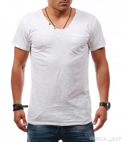 Едноцветна тениска с деколте 7878