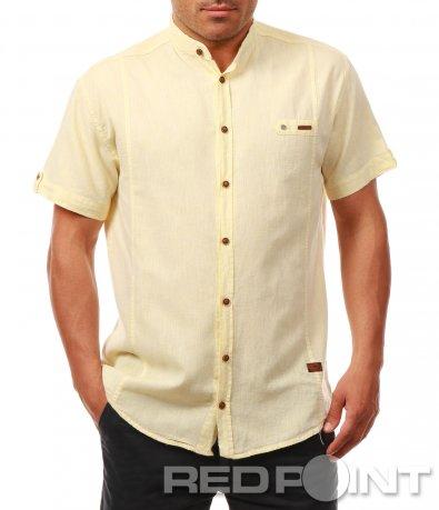 Бледо жълта риза с къс ръкав 7925