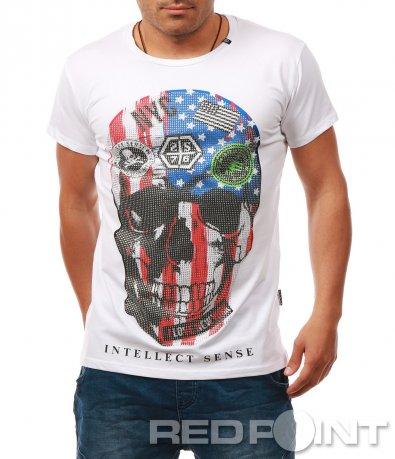 Тениска с щампа череп 7903
