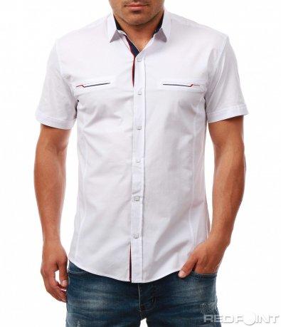 Едноцветна риза с къс ръкав 7972