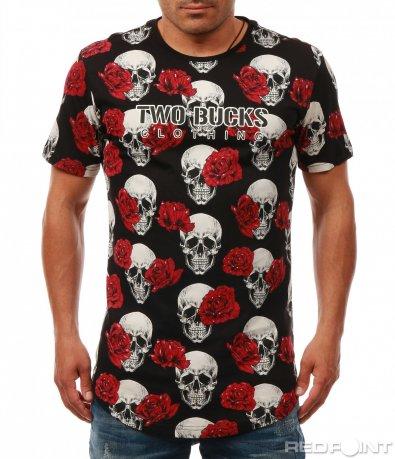 Ефектна тениска с черепи и рози 7976