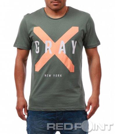 Семпла тениска с надпис Gray 7979