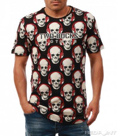 Тениска с принт на черепи 7975