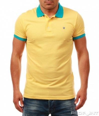 Еднотонна тениска с цветна яка 7982