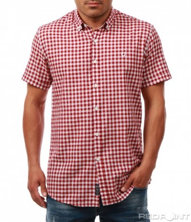 Лятна риза с кариран принт 7988